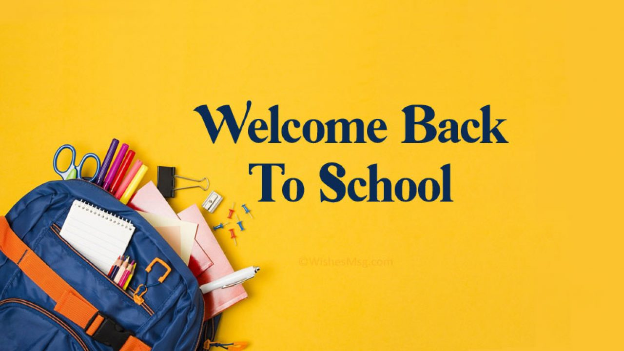 Welcome back to school poster with a backpack in the corner